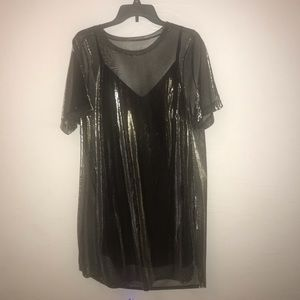 Black dress with sheer top